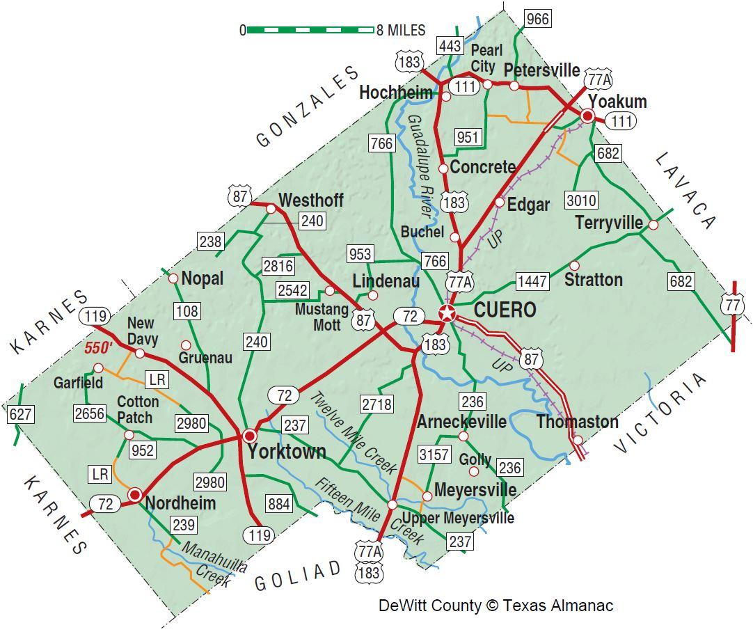 Dewitt County | The Handbook Of Texas Online| Texas State Historical - Yoakum County Texas Map