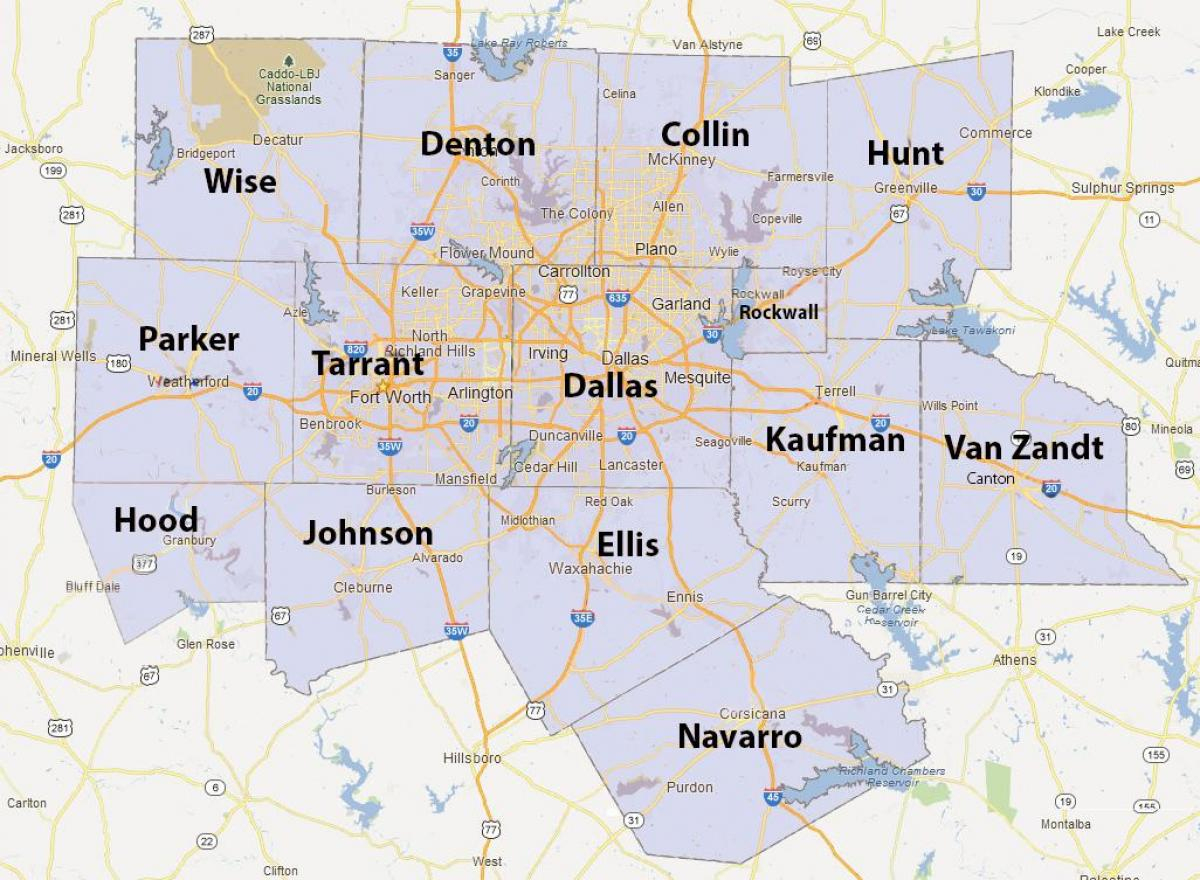 Dfw County Map - Fort Worth County Map (Texas - Usa) - Printable Map Of Dfw Metroplex