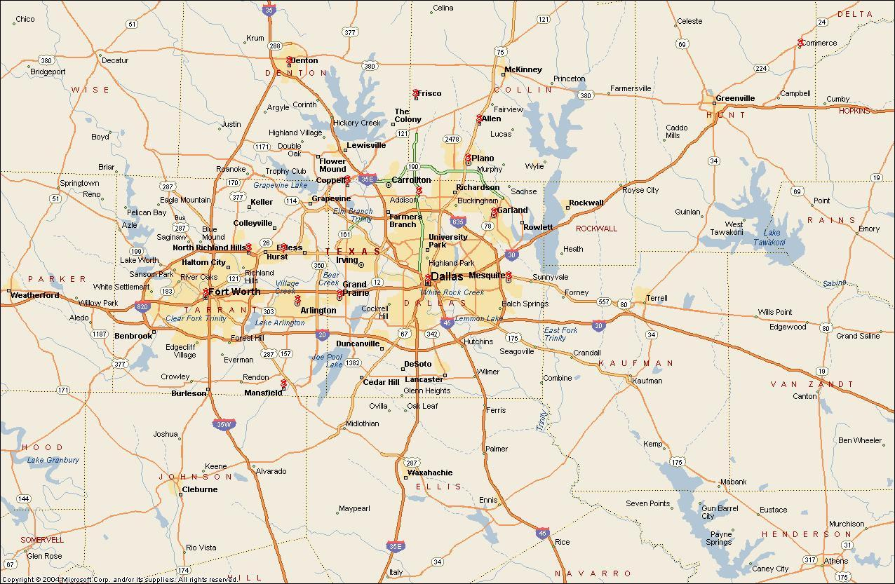 Dfw Metroplex Map - Map Of Dfw Metroplex Area (Texas - Usa) - Printable Map Of Dfw Metroplex