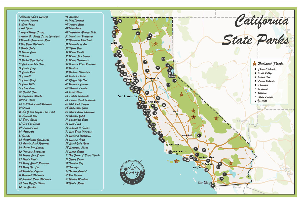 Digital California State Parks Map | Etsy - California State Parks Map