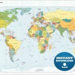 Digital Modern Political World Map Printable Download | Etsy   Detailed World Map Printable