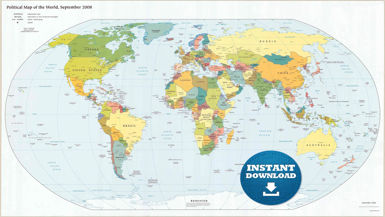 Digital Modern Political World Map Printable Download. Large | Etsy - Large Printable World Map