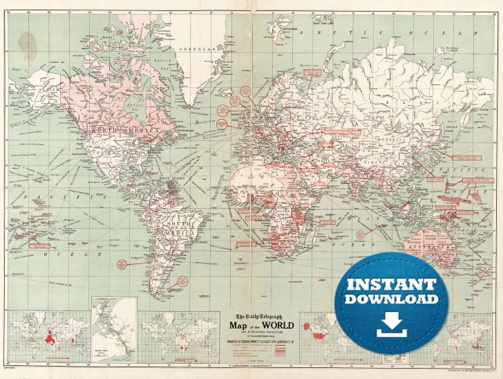 Vintage World Map Printable