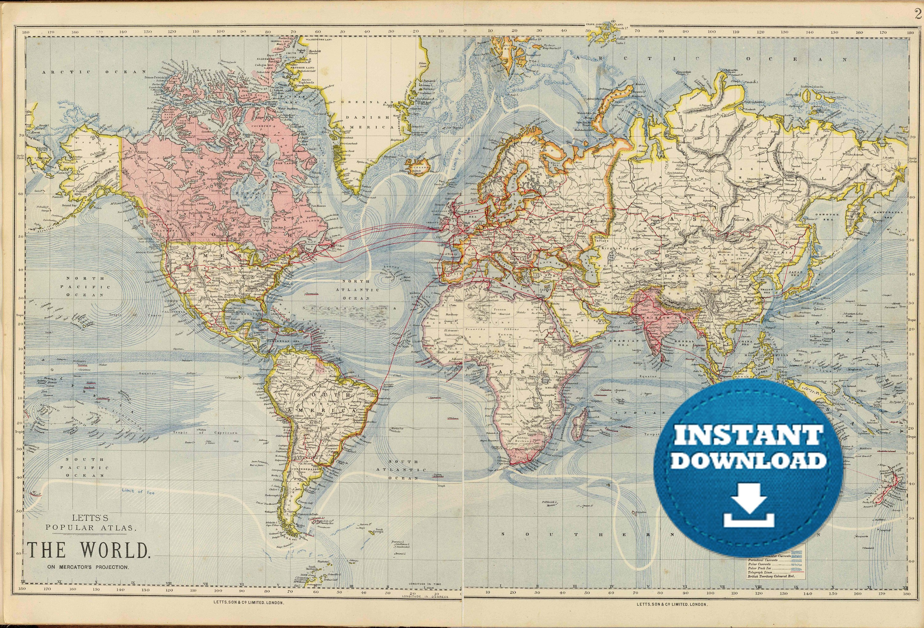 picture relating to Printable Vintage Maps titled Typical World-wide Map Printable Printable Maps