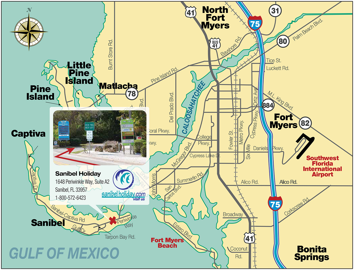 Directions To Sanibel Island | Sanibel Holiday - Street Map Of Sanibel Island Florida