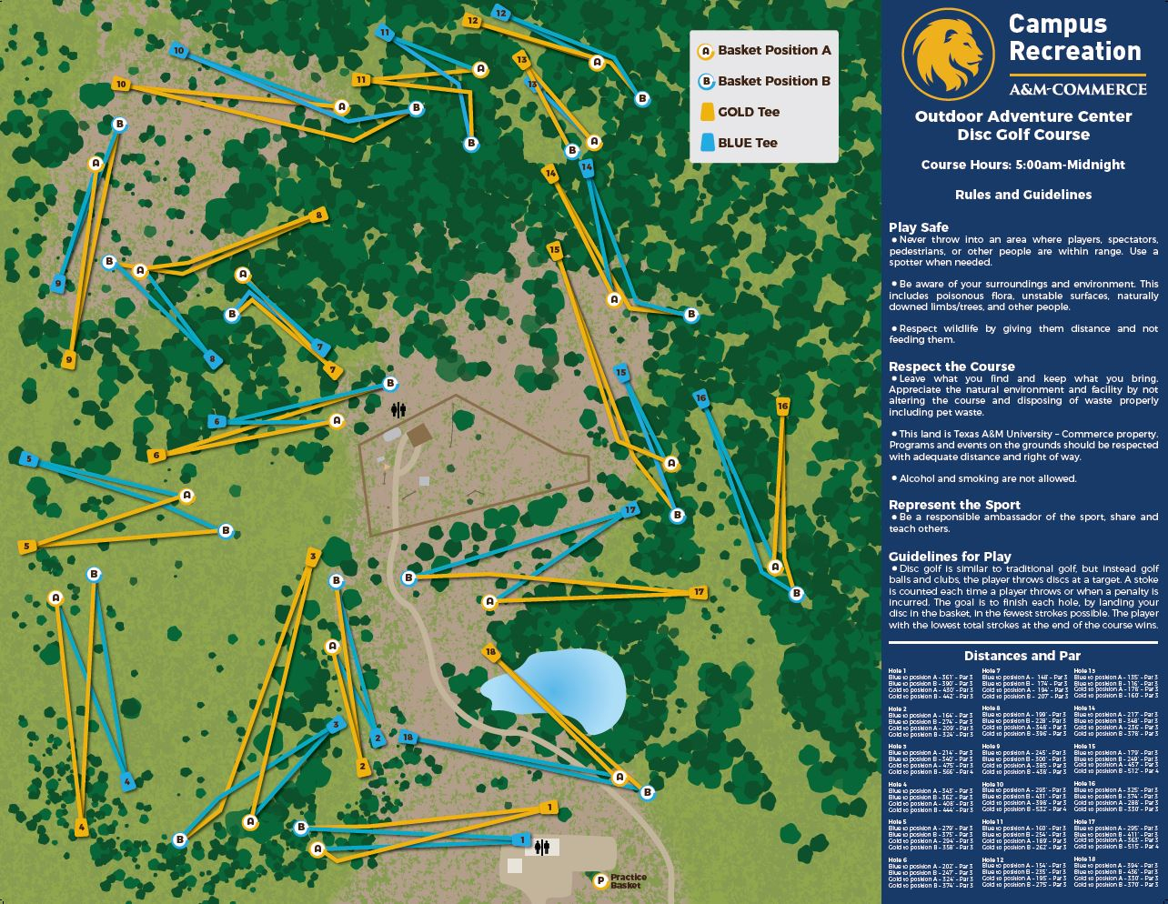 Disc Golf Course - Texas A&m University-Commerce - Texas Golf Courses Map