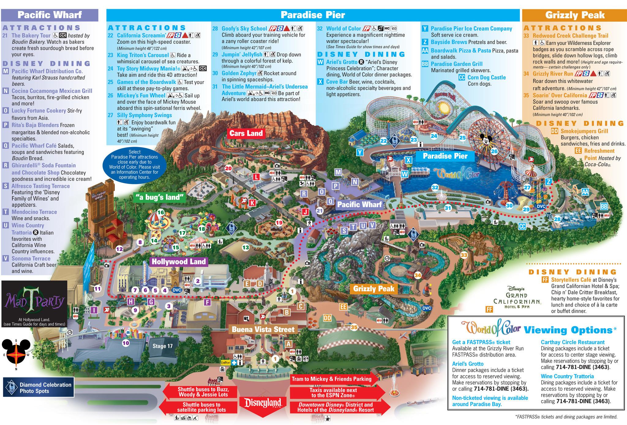 Disney California Adventure Map Pdf Outline Printable Map Disneyland - California Adventure Map Pdf