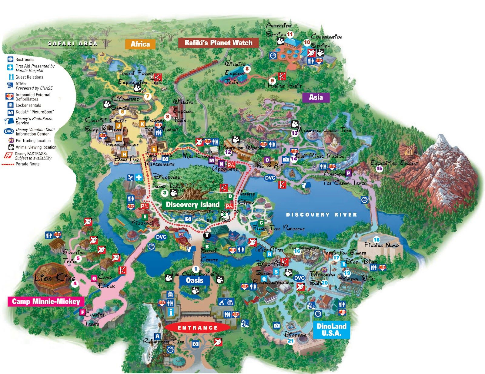 Disney World Adventure: Disney Animal Kingdom Map   Disney World Info - Animal Kingdom Florida Map