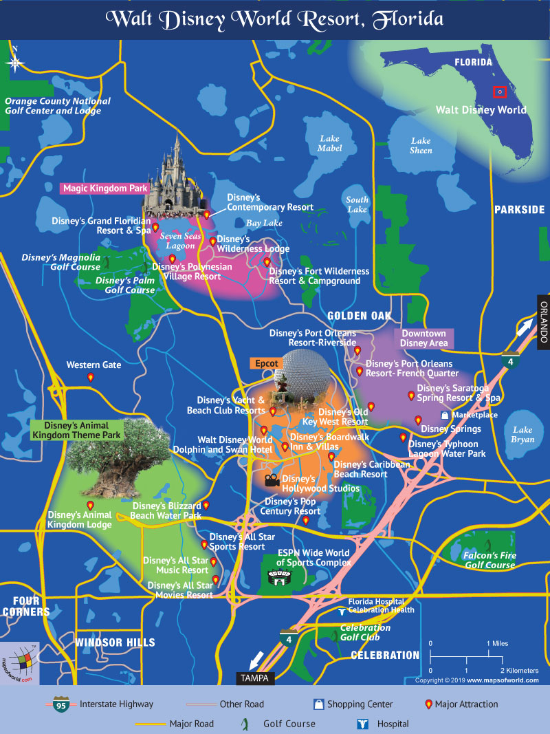 Disney World Map - Map Of Florida Showing Disney World