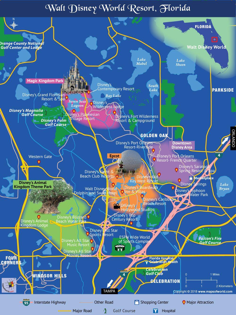 Disney World Map | Travel In 2019 | Disney, Disney World Map, Walt - Disney Hotels Florida Map