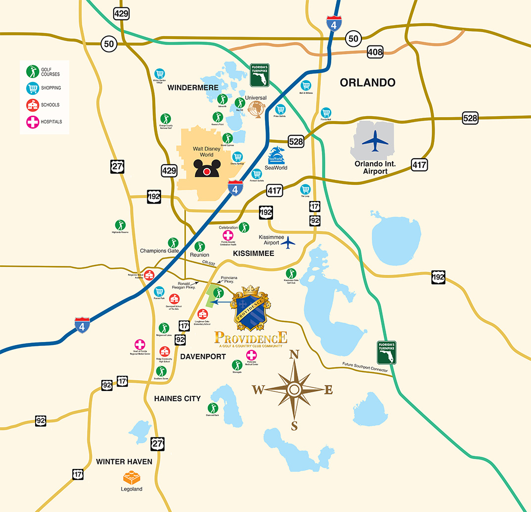 Disney World Vacation Community - New Homes Near Orlando - Orlando Florida Location On Map