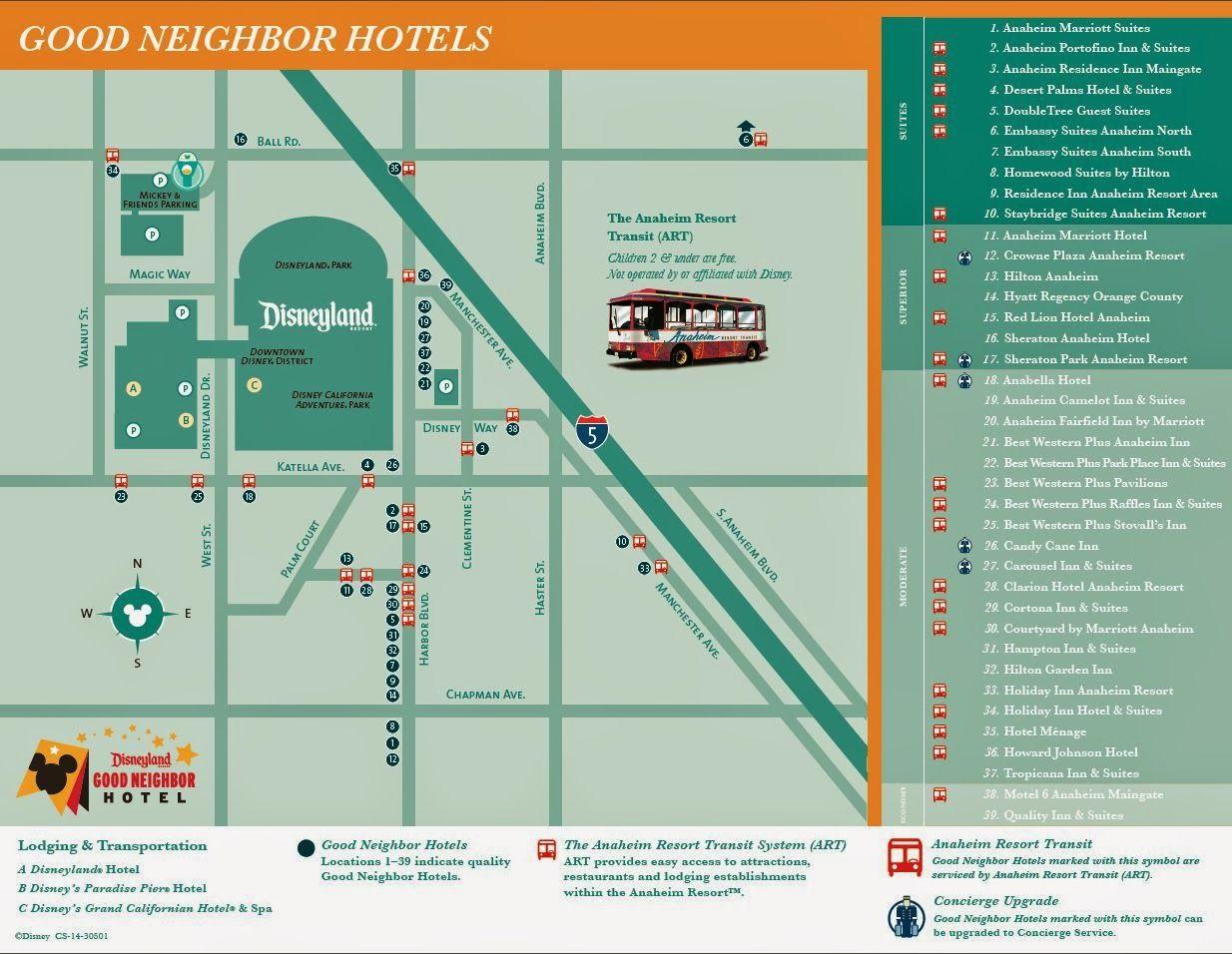 Disneyland Good Neighbor Hotel Map | Disney | Pinterest | Disneyland - Map Of Hotels Around Disneyland California