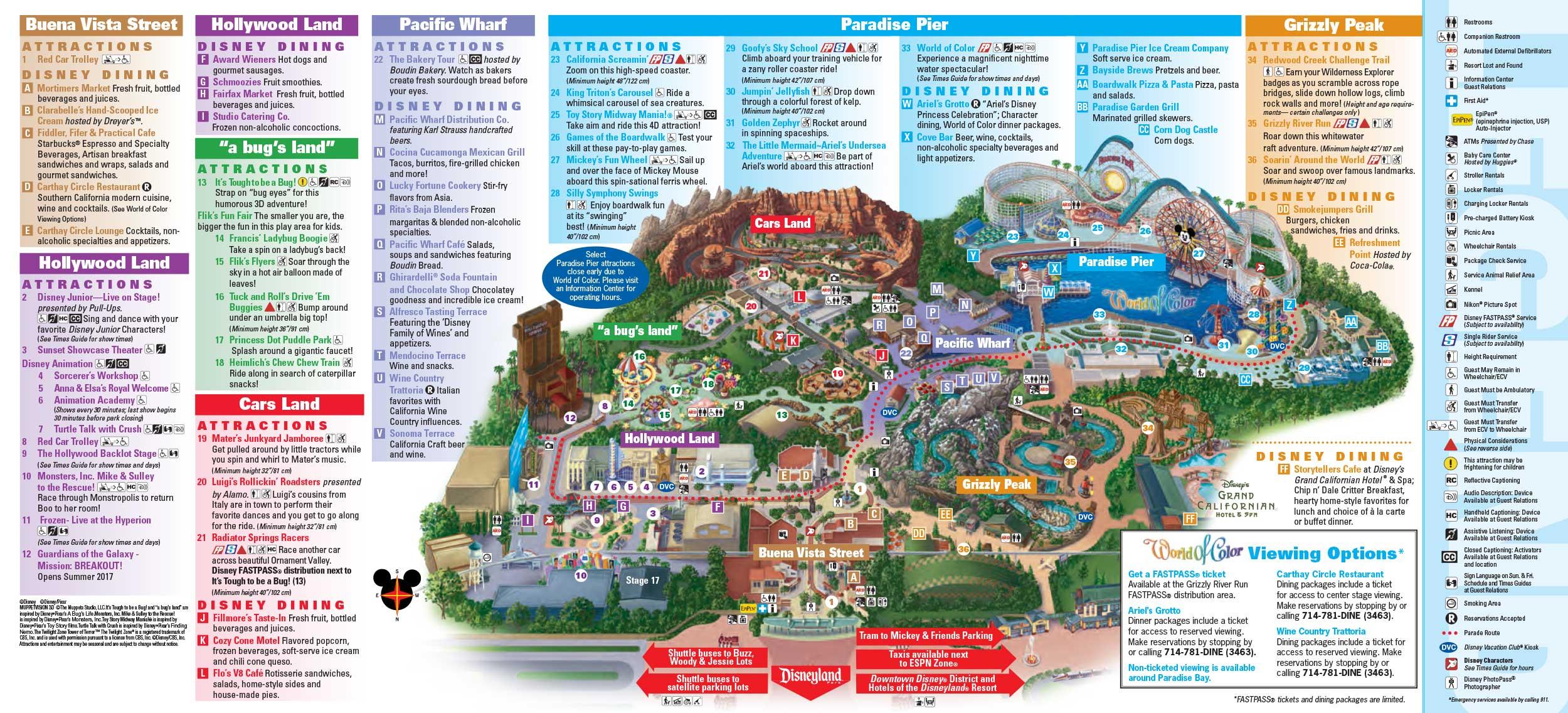 Disneyland Park Map In California, Map Of Disneyland - California Adventure Map 2017