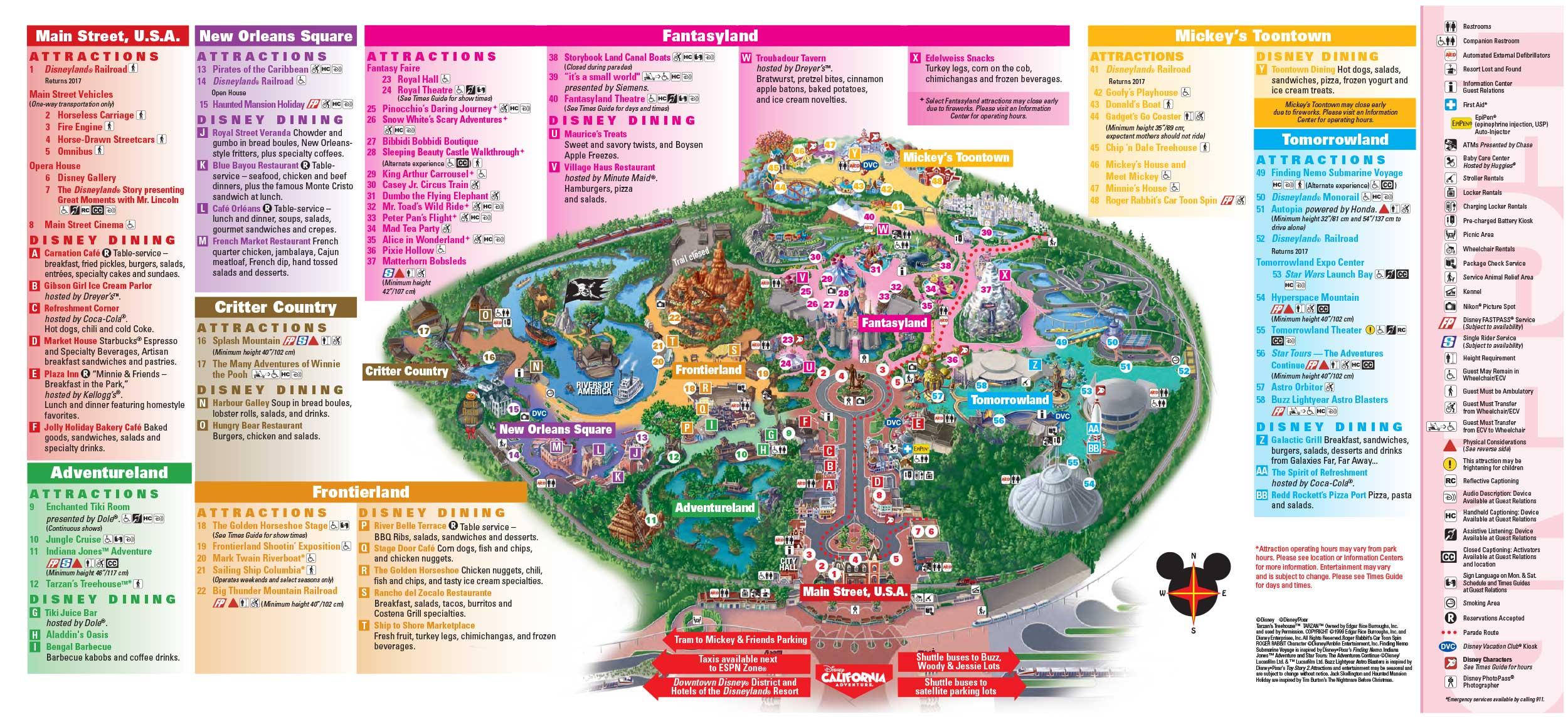 Disneyland Park Map In California, Map Of Disneyland - Disneyland California Map