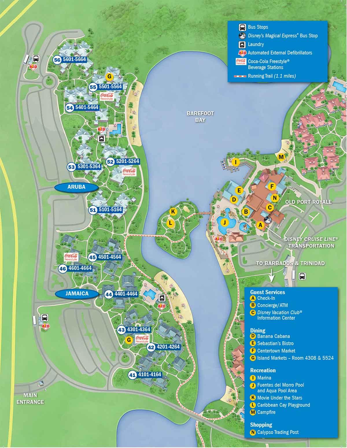 Disney's Caribbean Beach Resort Map - Wdwinfo - Florida Resorts Map