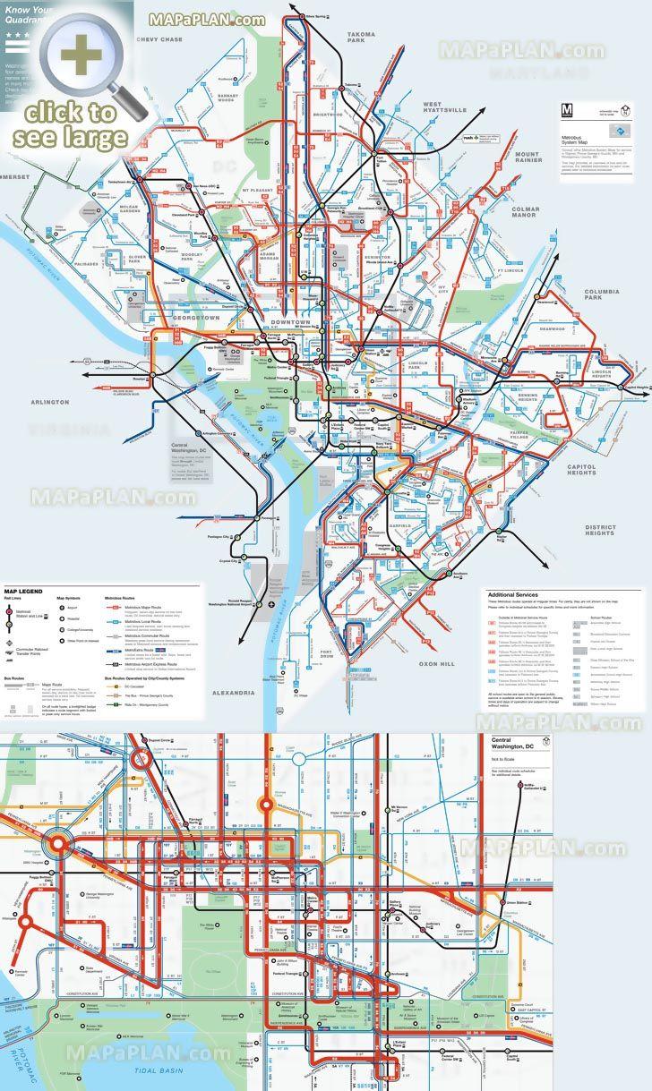 District Columbia Area Metrobus Official Public Transportation - Printable Metro Map Of Washington Dc