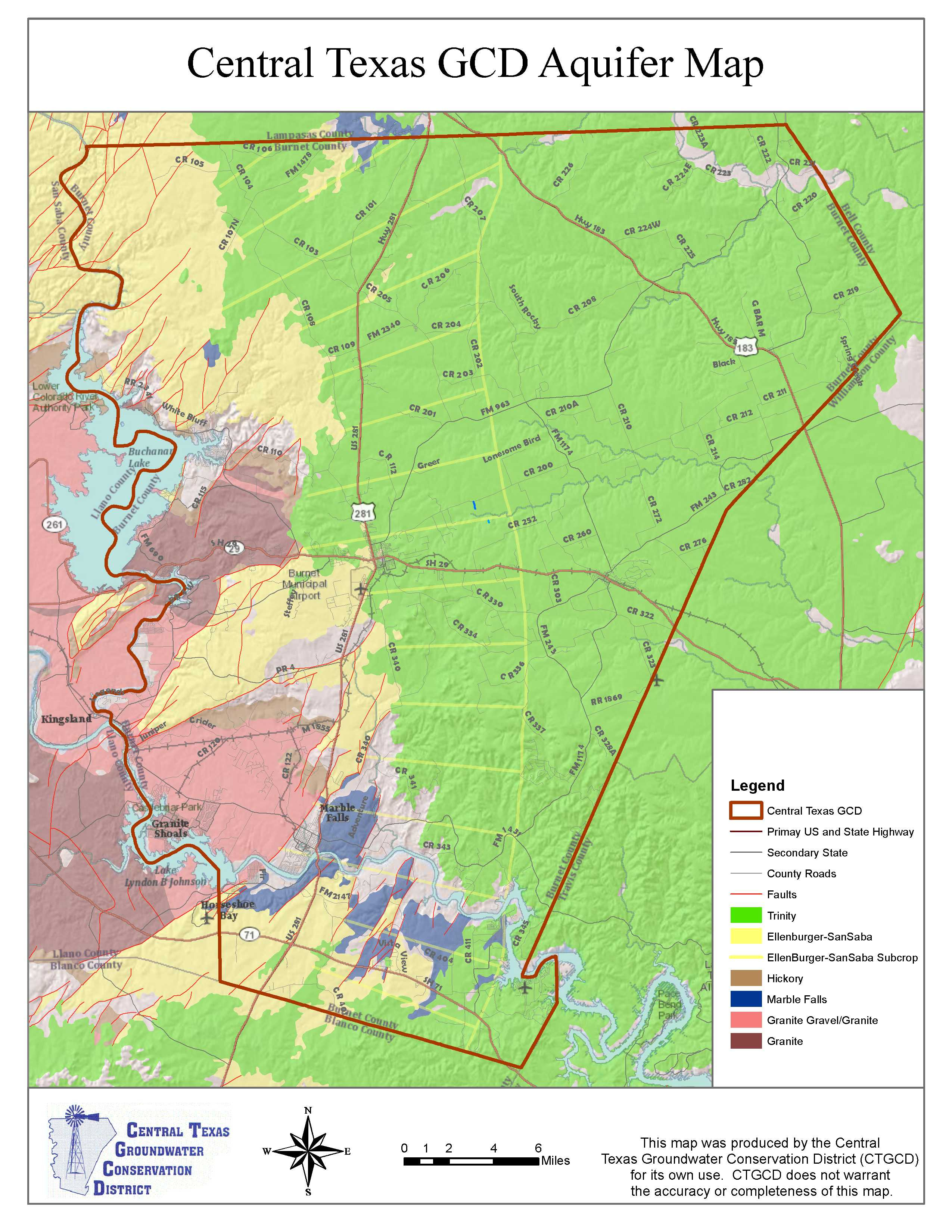 District Maps – Central Texas Groundwater Conservation District - Where Is Marble Falls Texas On The Map