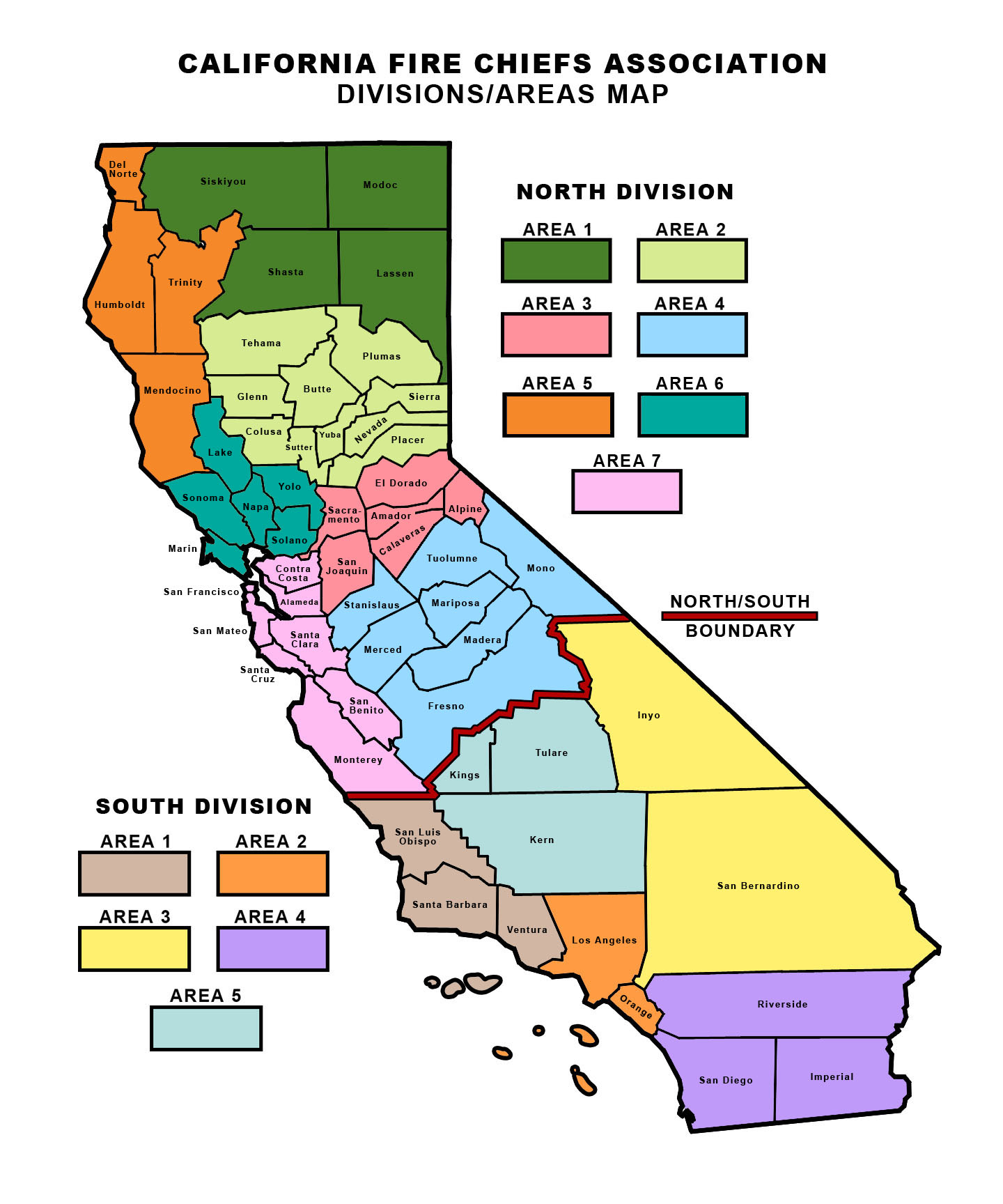 Divisions And Area Map - California Fire Chiefs Association - Fires In California Right Now Map