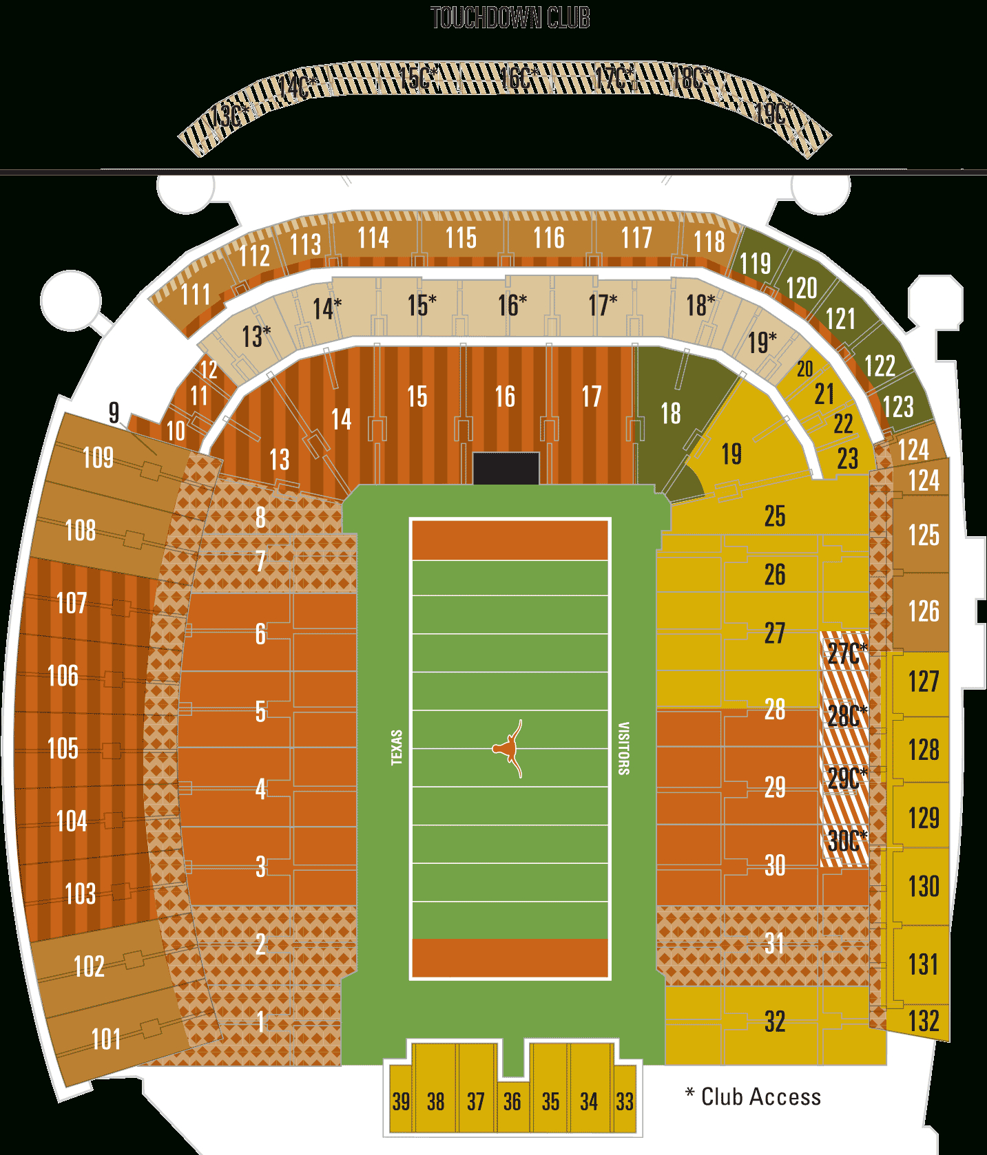 Dkr Seating Chart Darrell K Royal Texas Memorial Stadium Map - University Of Texas Stadium Map