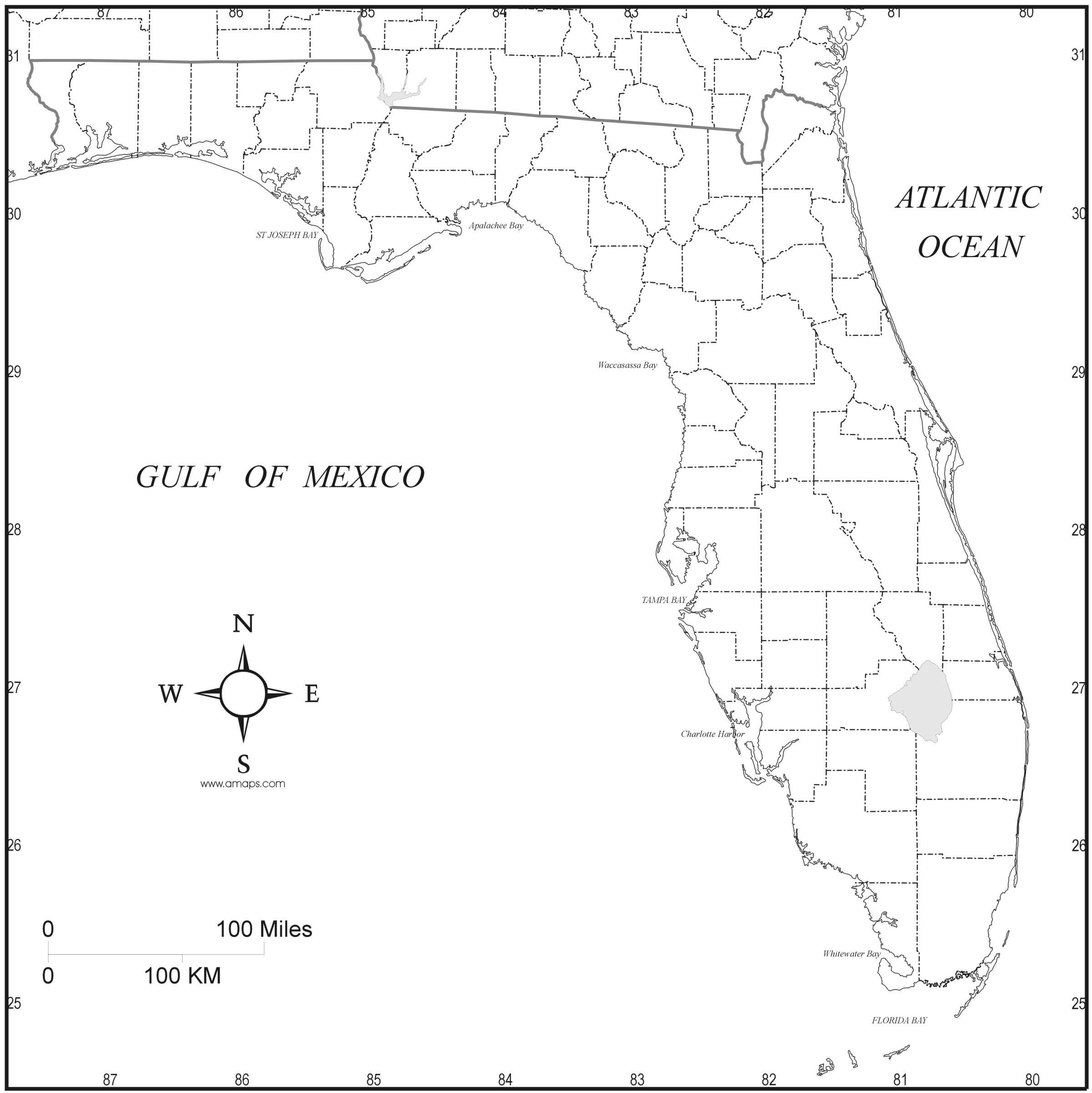 Download Florida State Map To Print - Florida Map Black And White