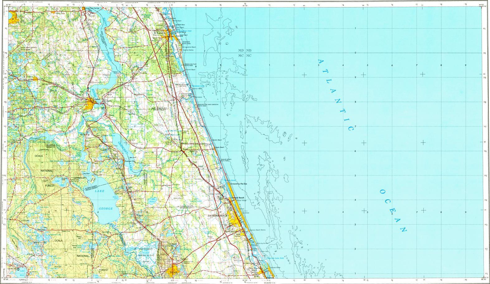 Download Topographic Map In Area Of Daytona Beach, Port Orange - Marineland Florida Map