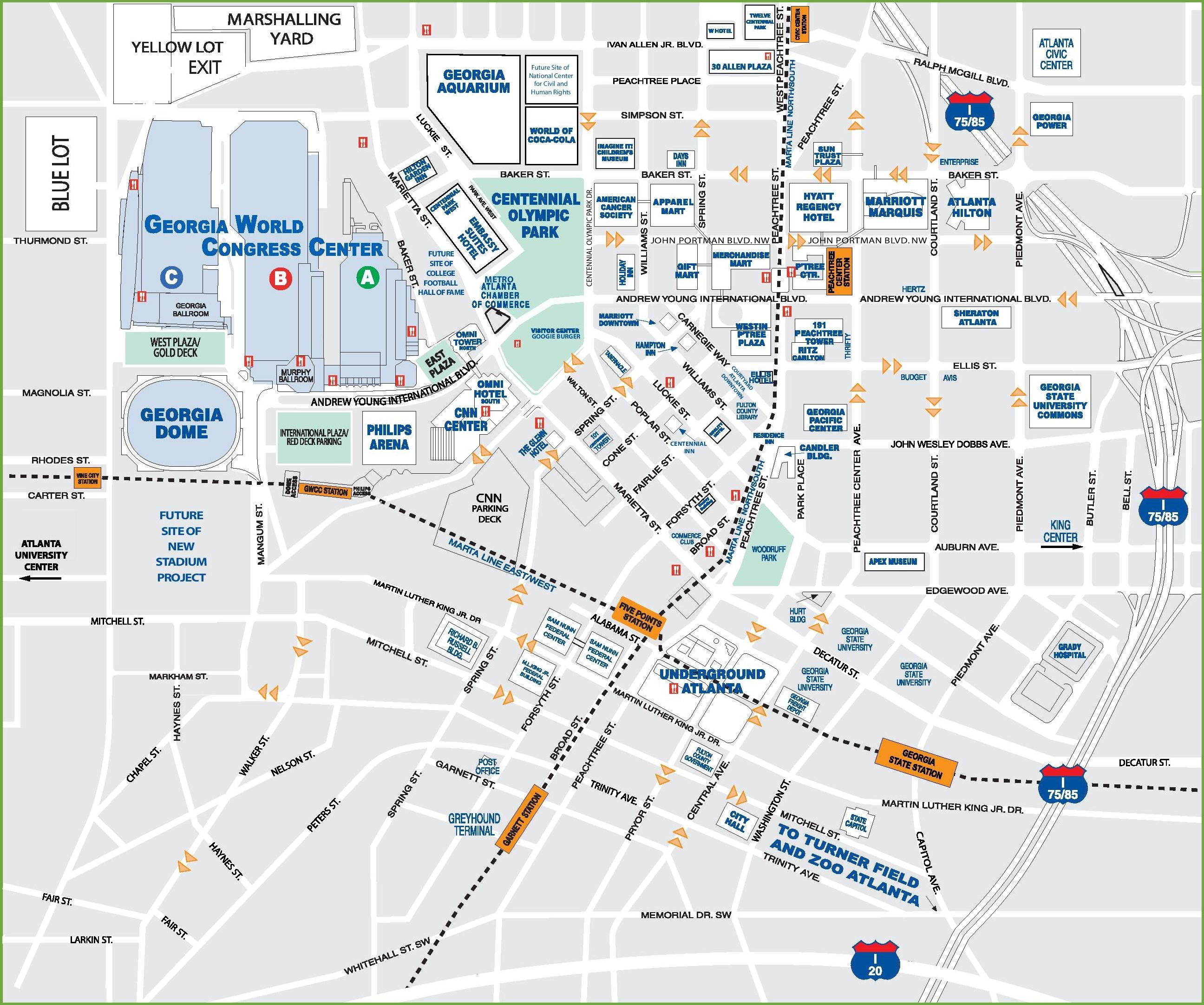 Downtown Atlanta Tourist Map - Printable Map Of Columbus Ga