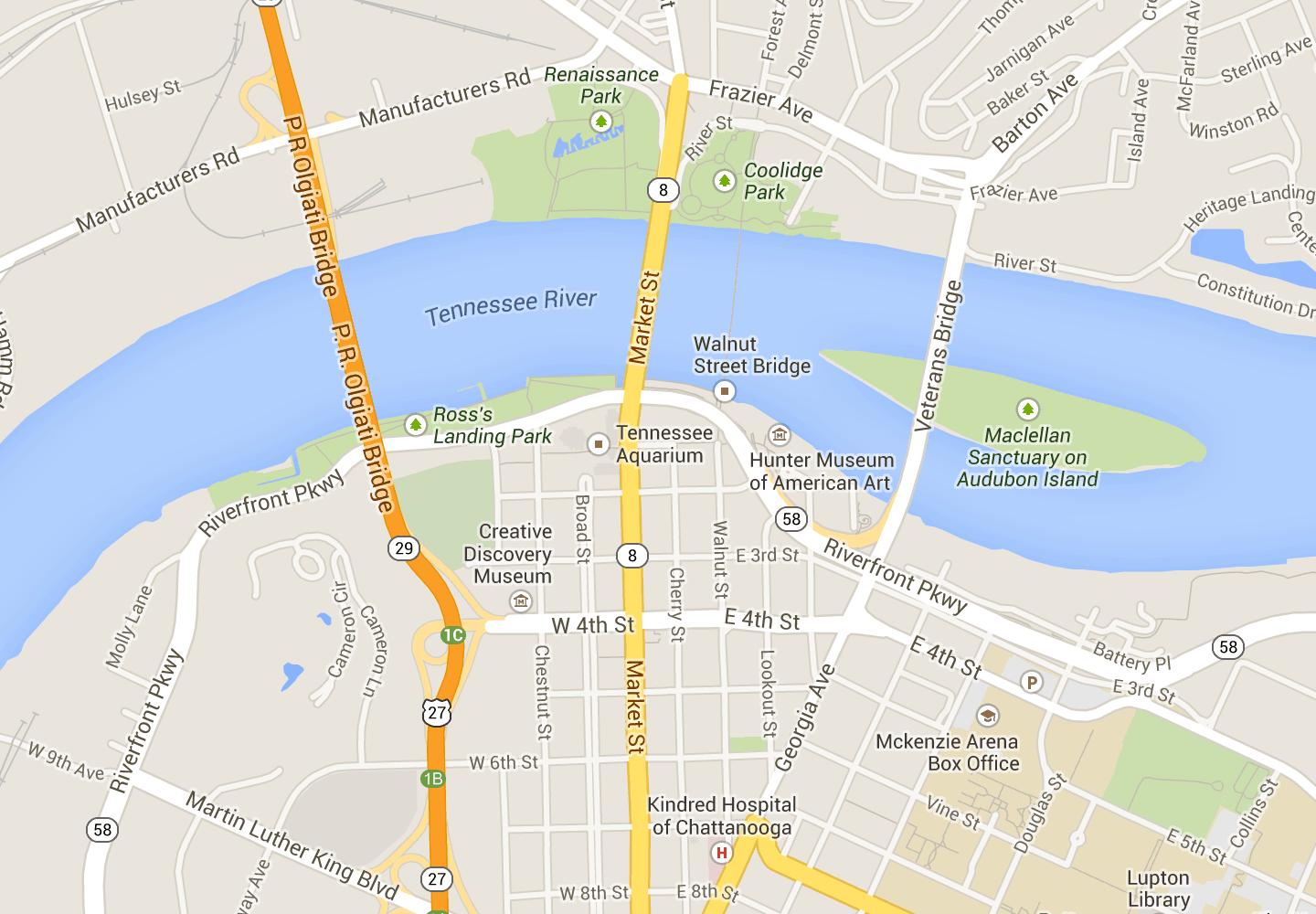 Downtown Chattanooga - Map | Tennessee | Chattanooga Map, Downtown - Printable Map Of Chattanooga