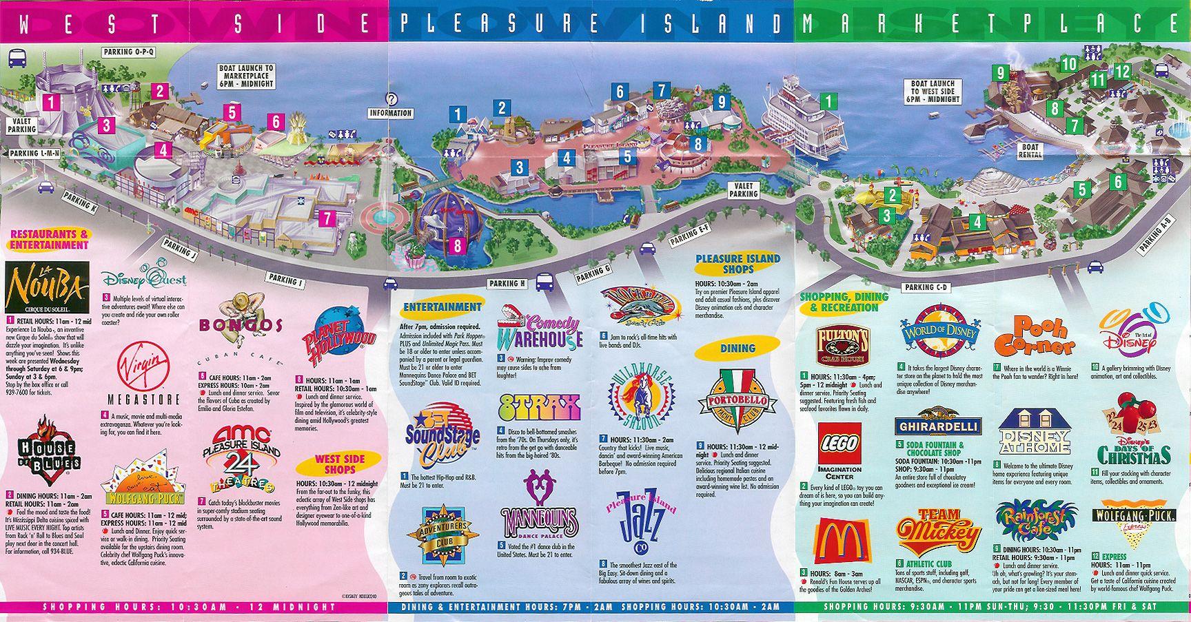 Downtown Disney Orlando | Downtown Disney - 1999 Map | Travel - Map Of Downtown Disney Orlando Florida