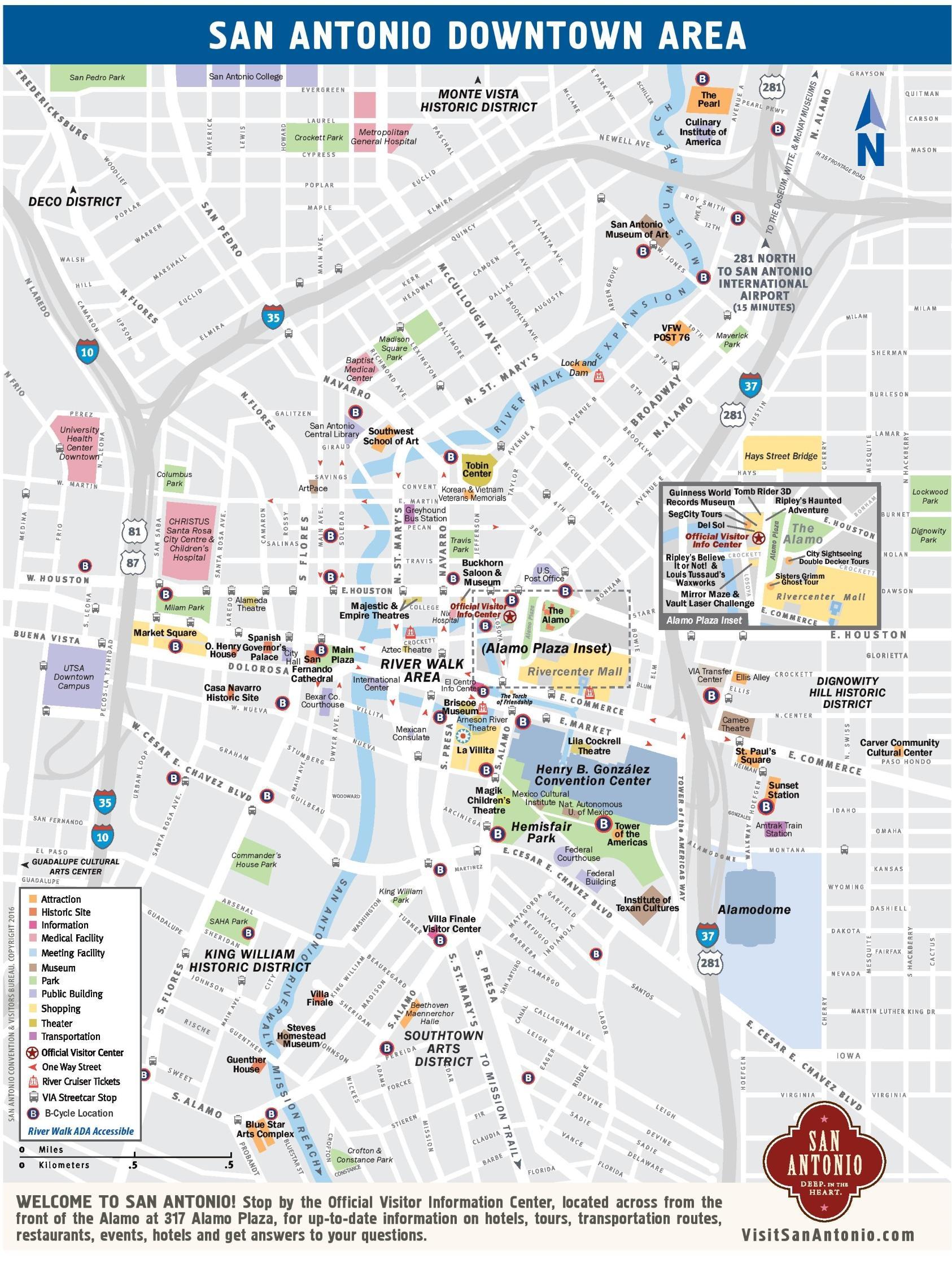 Downtown San Antonio Map - Map Of Downtown San Antonio (Texas - Usa) - Printable Map Of Downtown San Diego