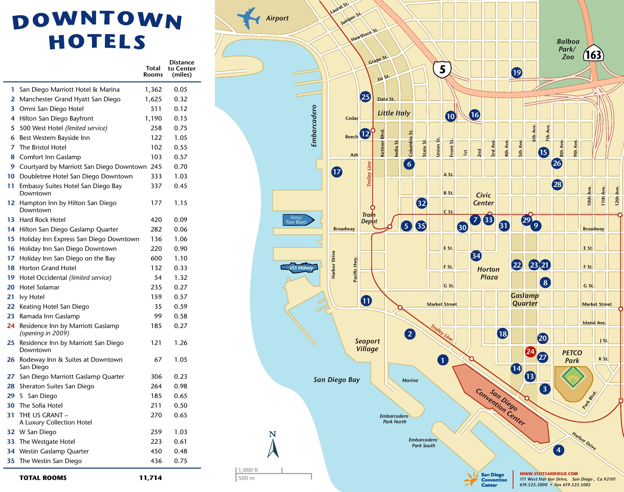 Downtown San Diego Hotel Map Map Outline San Diego California On A - California Hotel Map