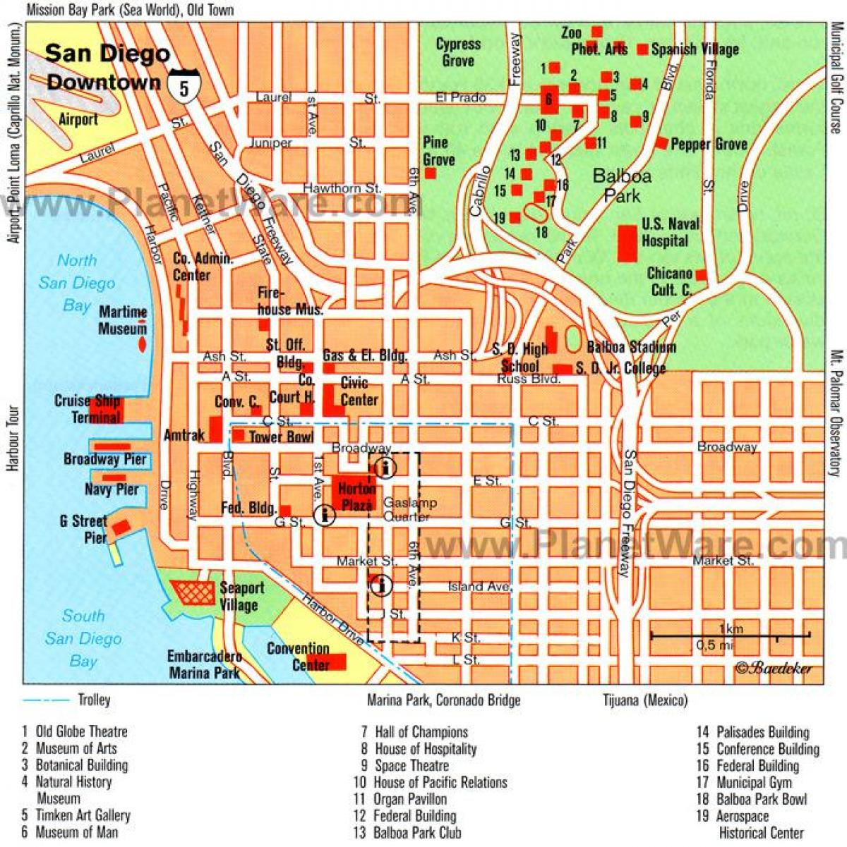 Downtown San Diego Map - Map Of Downtown San Diego (California - Usa) - Printable Map Of Downtown San Diego