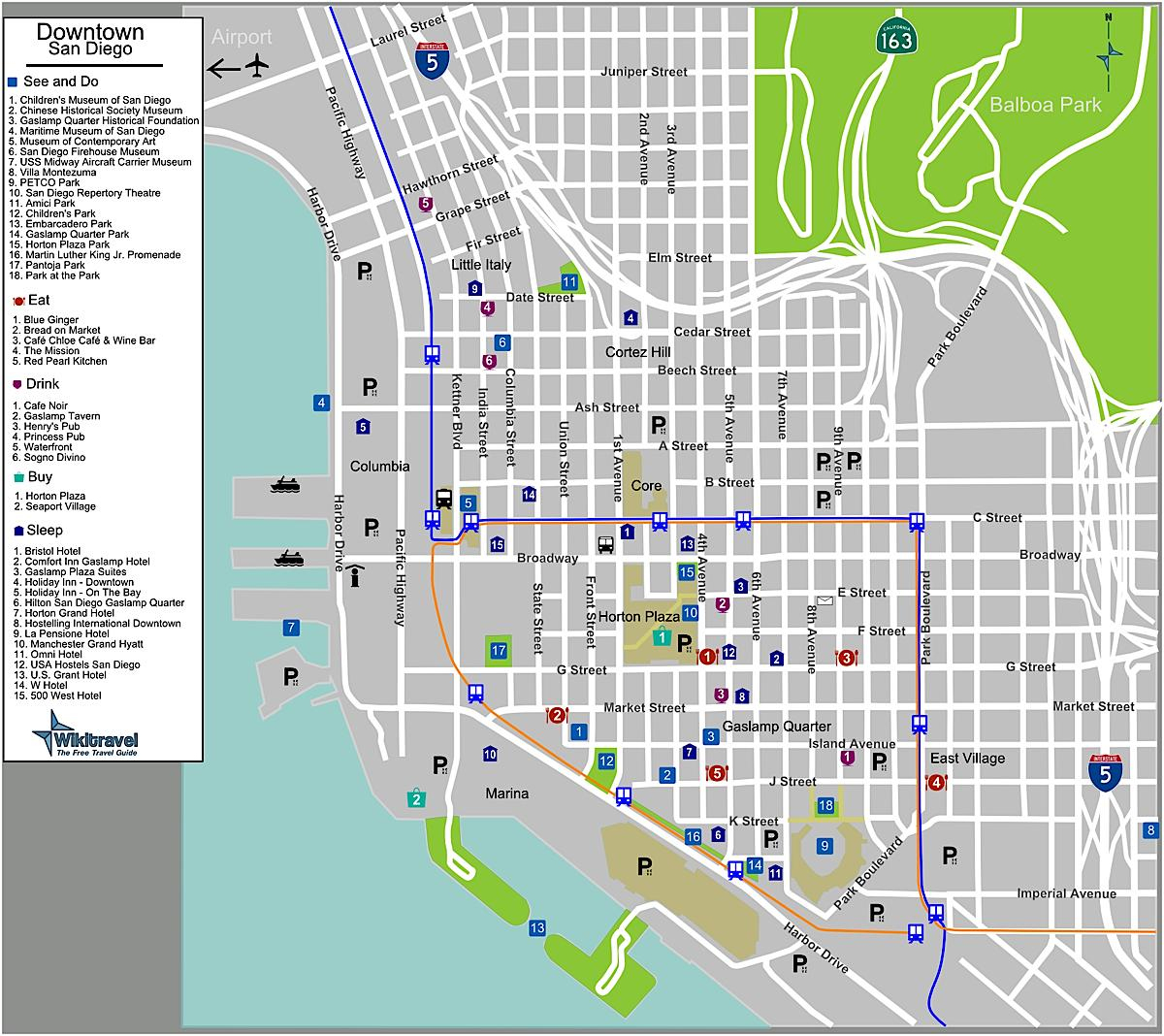 Downtown San Diego Street Map - Street Map Of Downtown San Diego - Printable Map Of Downtown San Diego