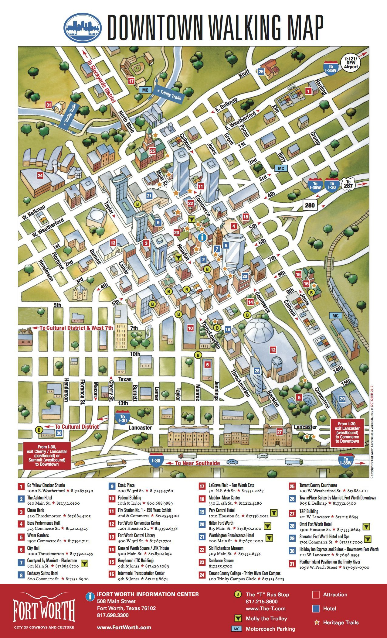 Downtown Walking Map | Fort Worth Maps - Map Of Downtown Fort Worth Texas