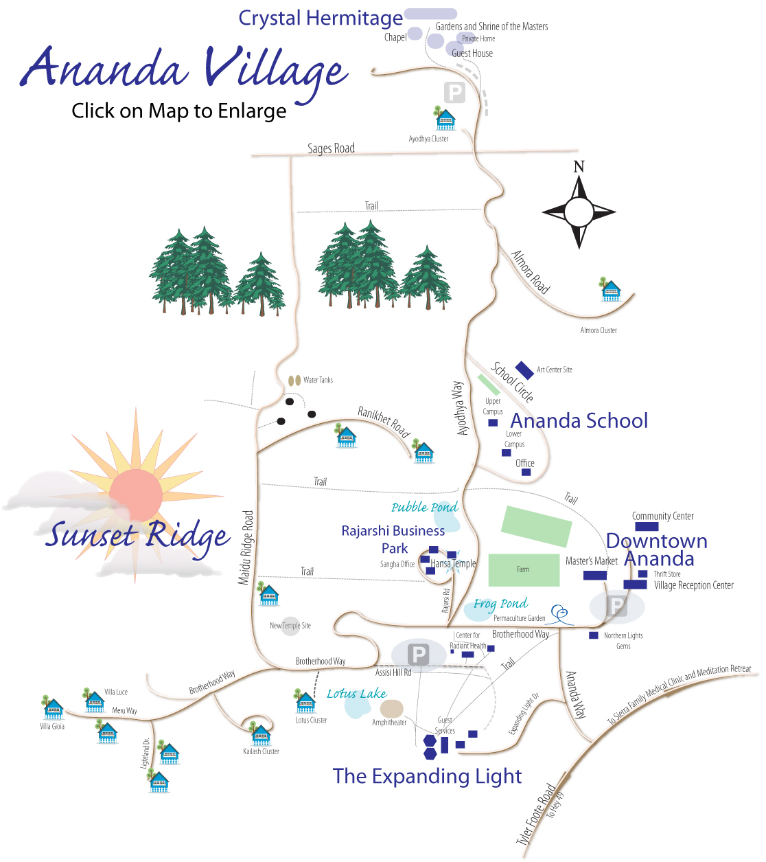 Driving Directions / Maps | Ananda Village - Printable Driving Directions Map