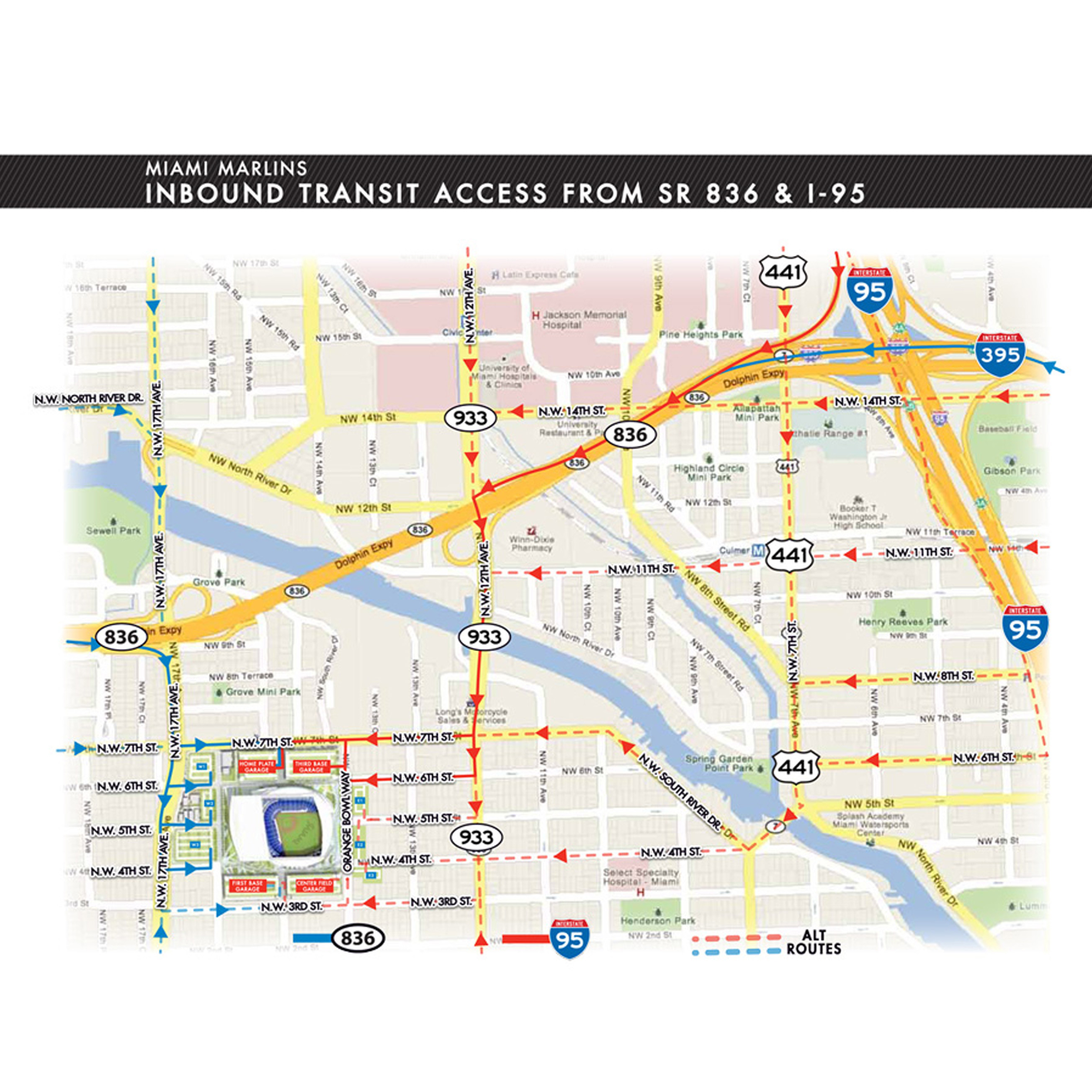 Driving Directions To Marlins Park | Miami Marlins - Map Of Spring Training Sites In Florida