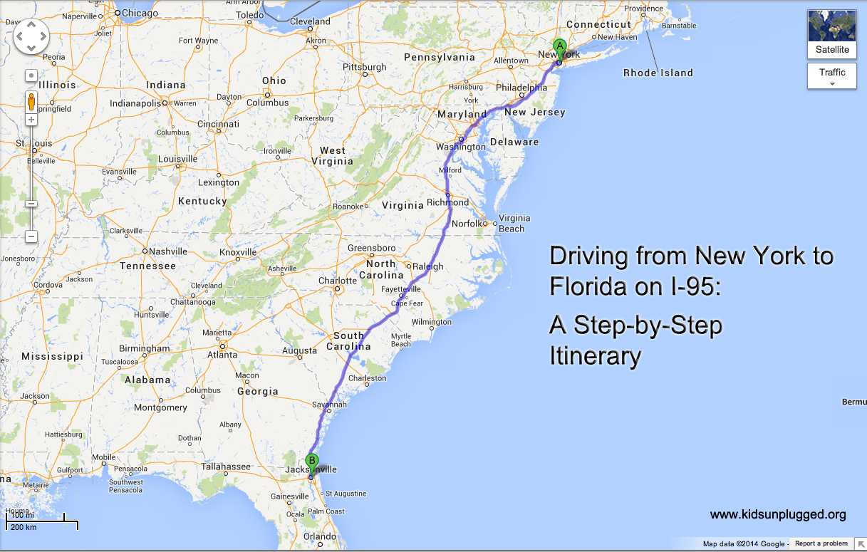 Driving From New York To Florida – A Step-By-Step Itinerary | Kids - Florida Road Trip Map