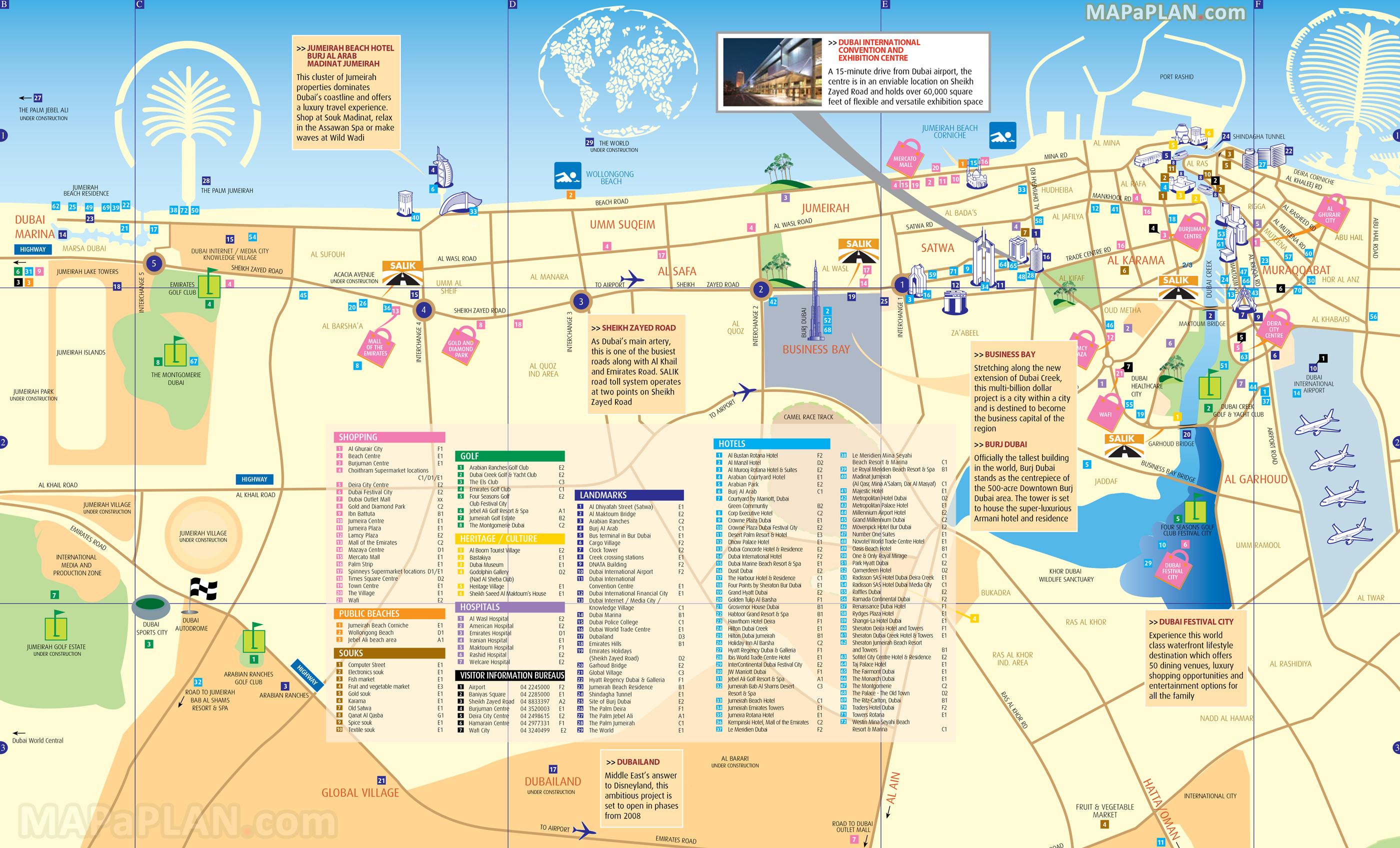 Dubai Maps - Top Tourist Attractions - Free, Printable City Street Map - Free Printable Travel Maps