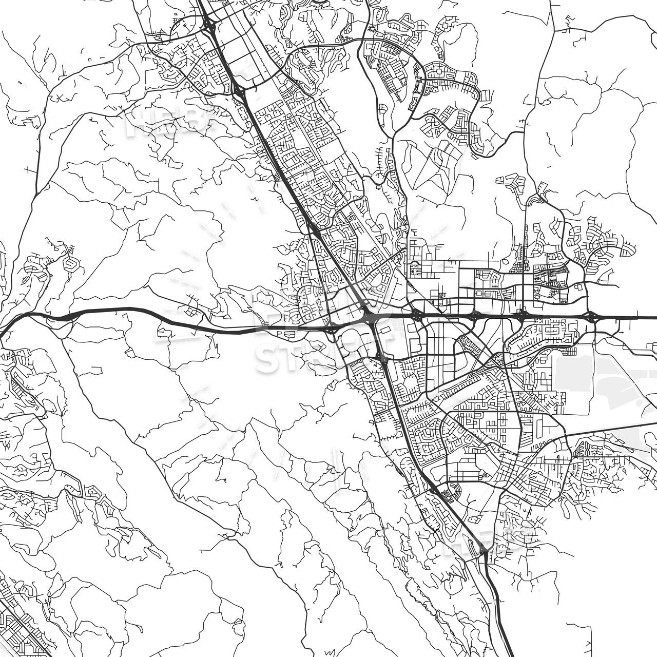 Dublin, California - Area Map - Light   Hebstreits Sketches - Map Of Dublin California Area