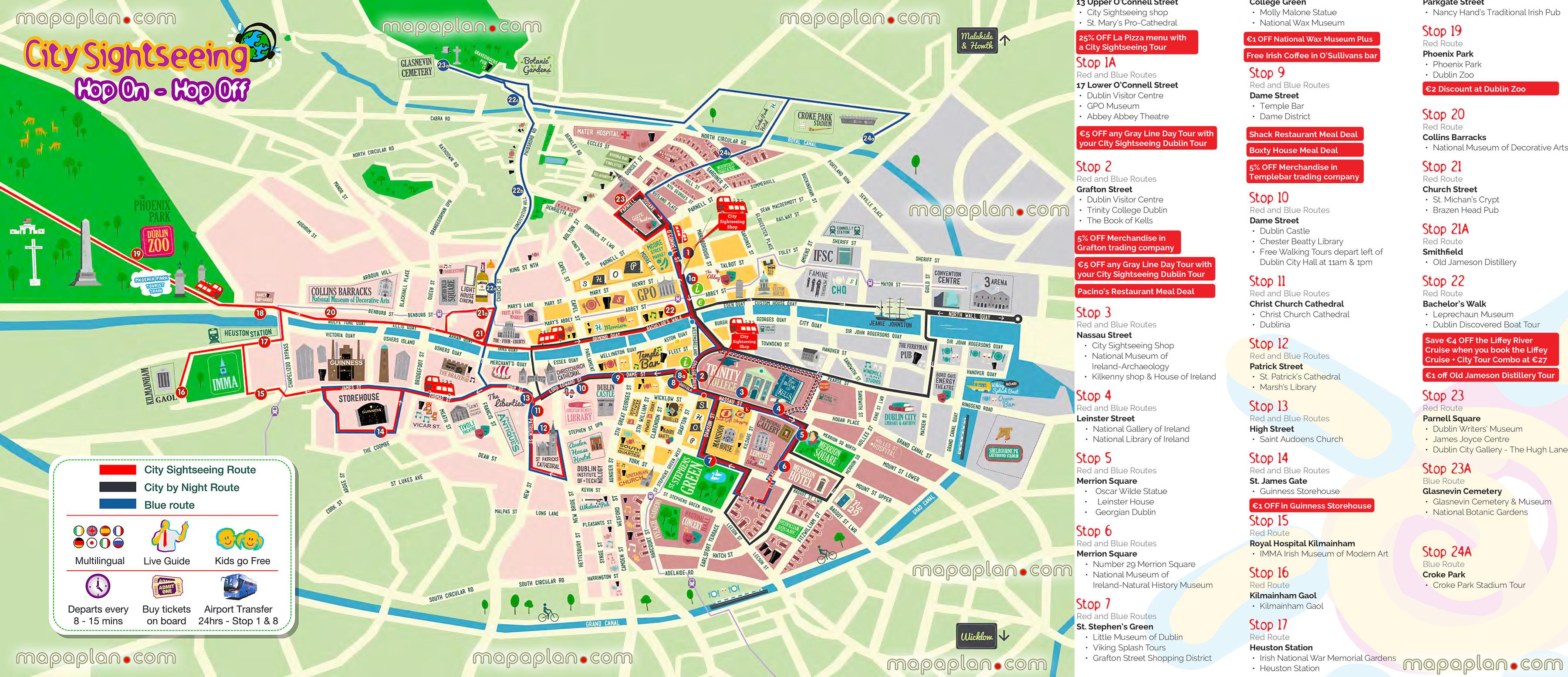 Dublin Map - Hop-On Hop-Off Bus Map Of Dublin City Sightseeing Tour - Dublin Tourist Map Printable