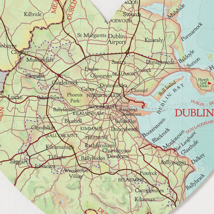 Dublin Map Location Heart Printbombus | Notonthehighstreet - Printable Map Of Dublin