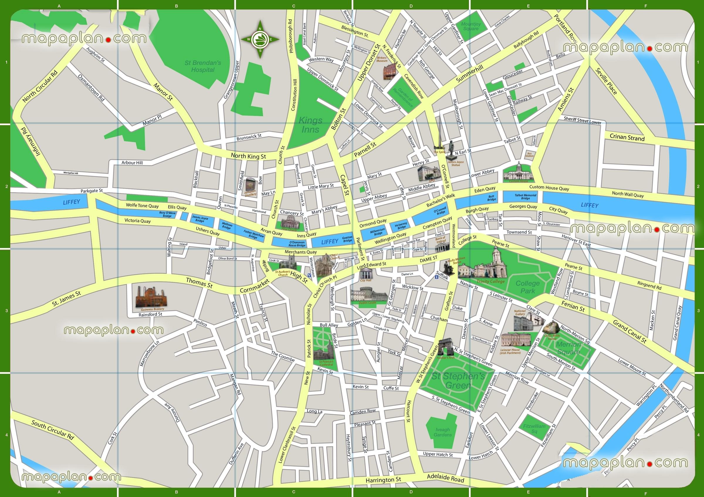 Dublin Tourist Attractions Dublin Map Printable Walking Map Of - Dublin Tourist Map Printable