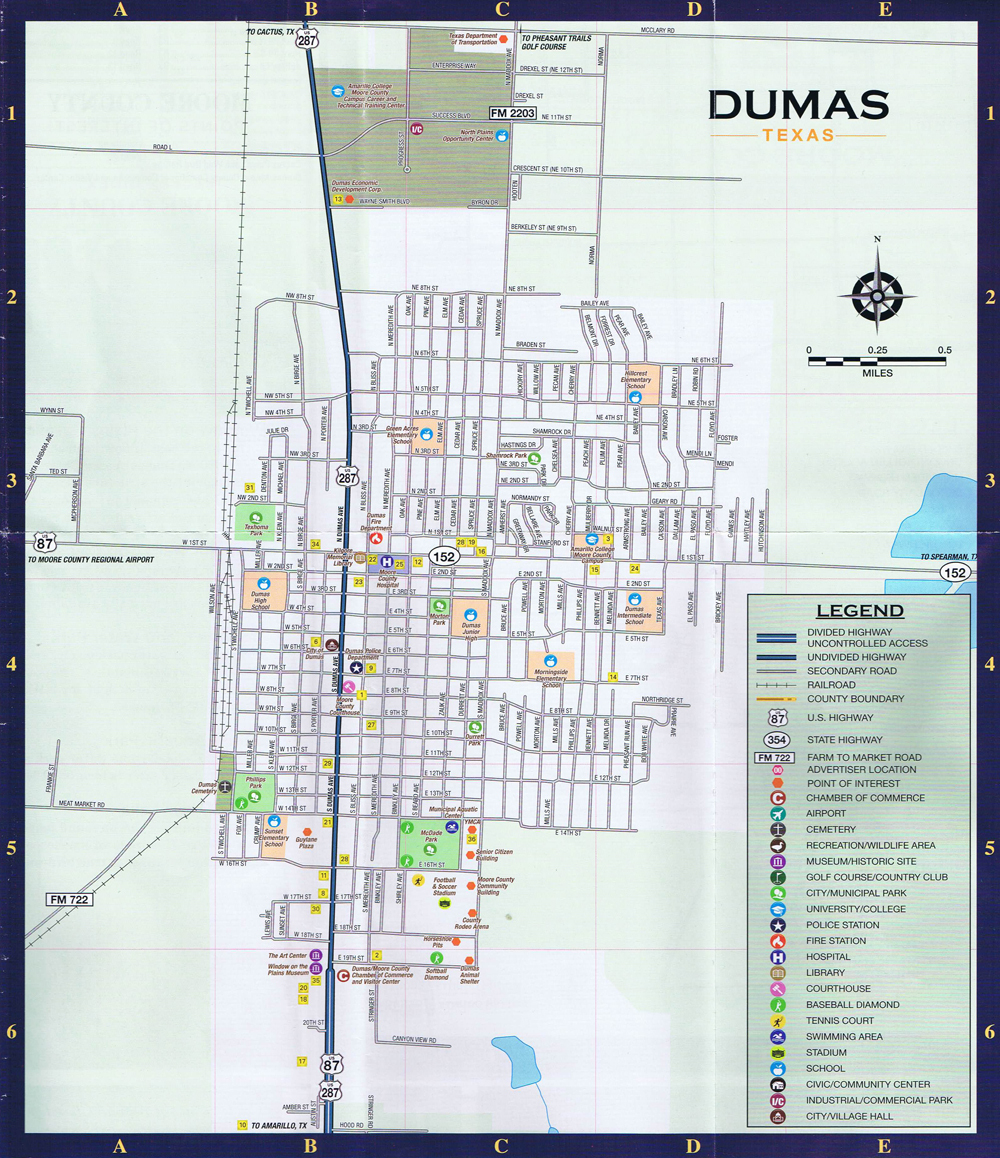Dumas Local Street Map - Dumas Texas Map