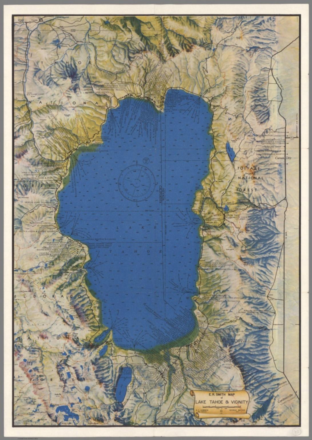 E.r. Smith Map Of Lake Tahoe & Vicinity - David Rumsey Historical - Printable Map Of Lake Tahoe