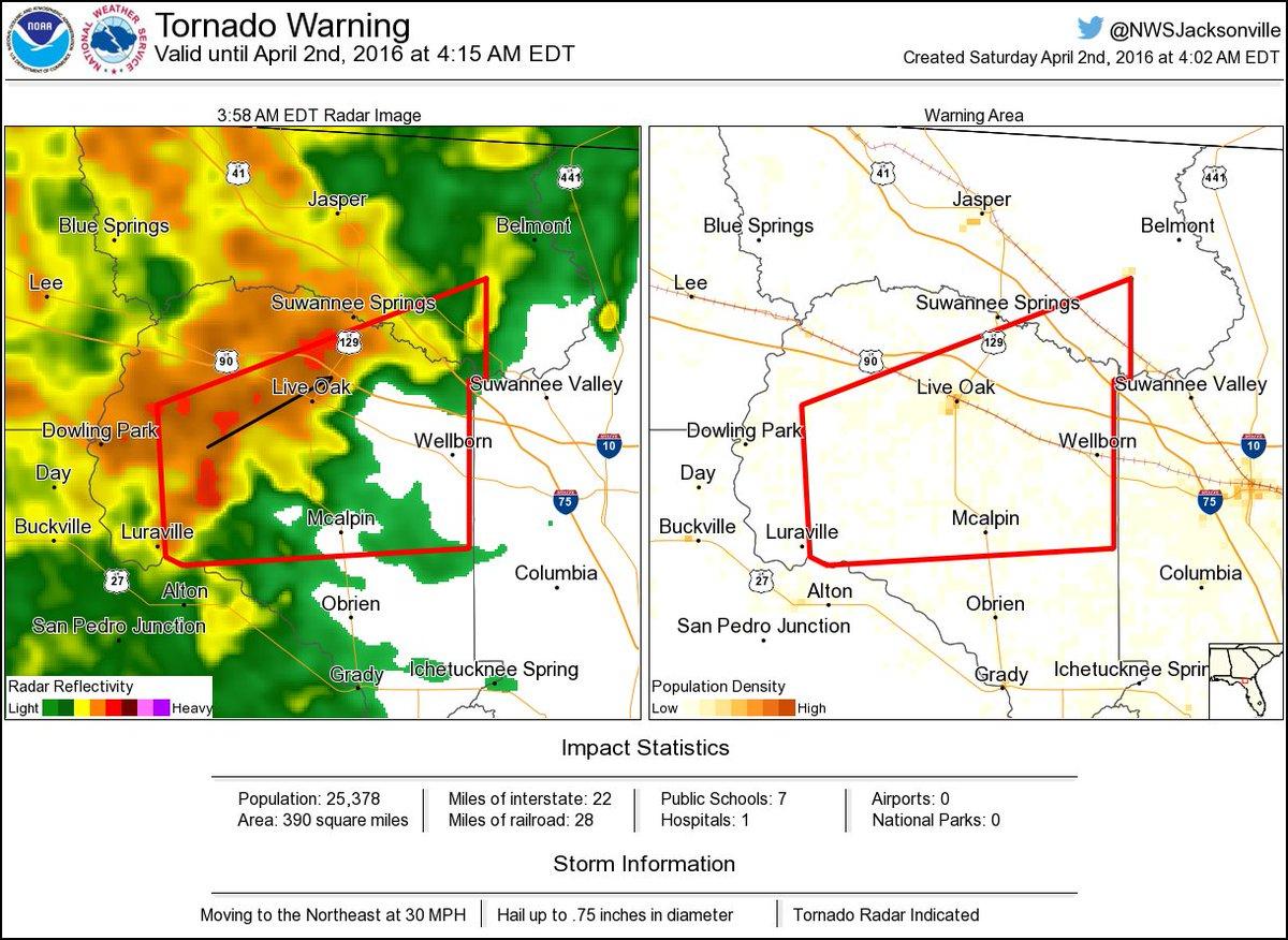 ⚠ Tornado Warning Including Live Oak Fl, Wellborn Fl, Mcalpin Fl - Mcalpin Florida Map