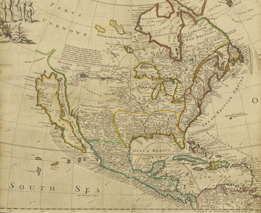 Early Map Of North America Depicting California As An Island - Early California Maps