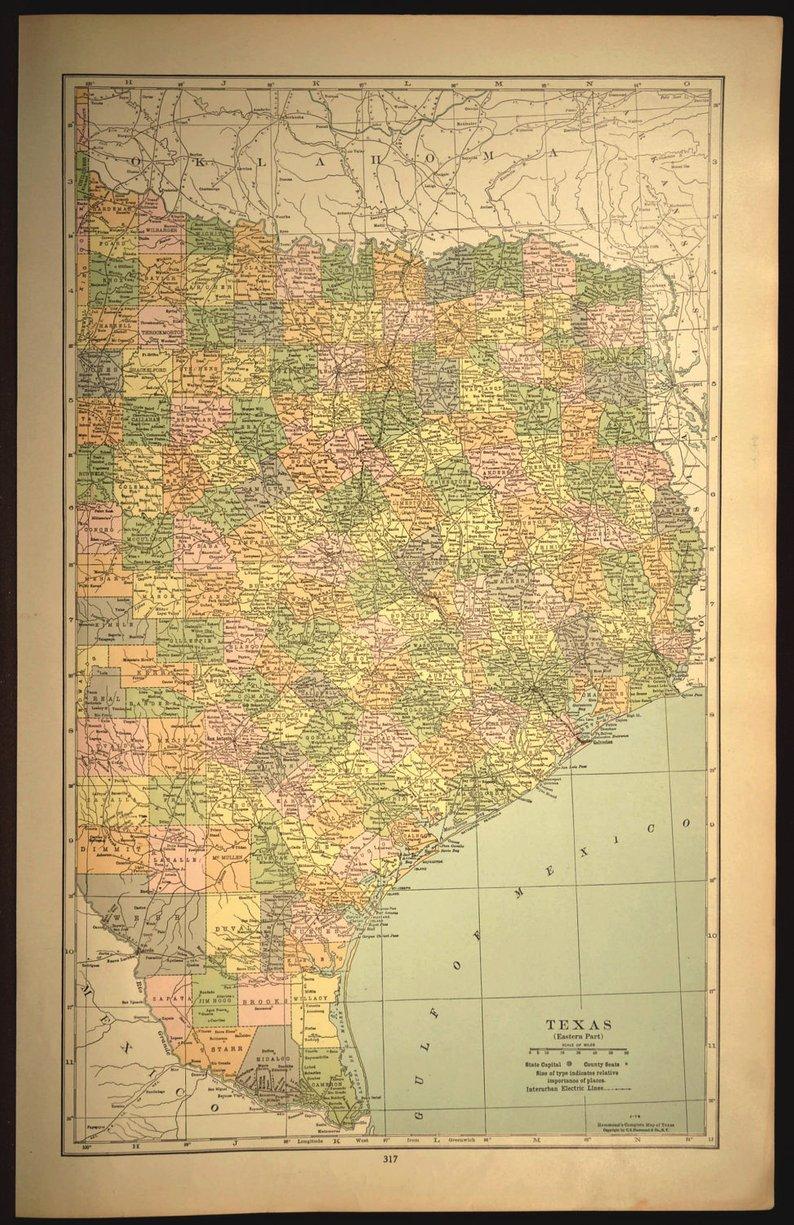 East Texas Map Of Texas Wall Decor Art Large Eastern Gift Idea | Etsy - Texas Map Wall Decor