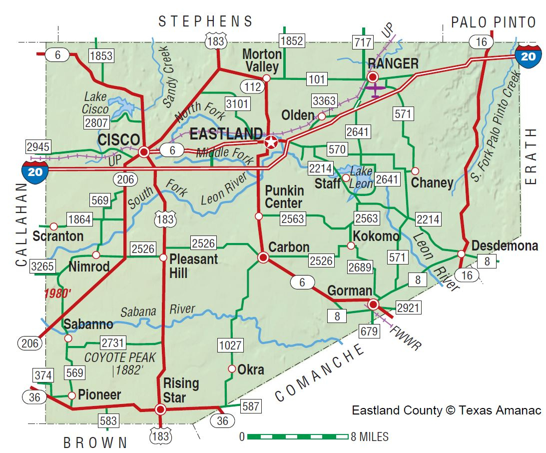 Eastland County | The Handbook Of Texas Online| Texas State - Comanche County Texas Map