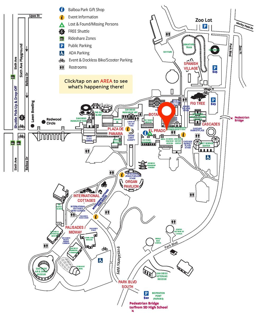 El Prado Area On Map - Balboa Park December Nights | City Of San - Map Of Balboa Park San Diego California