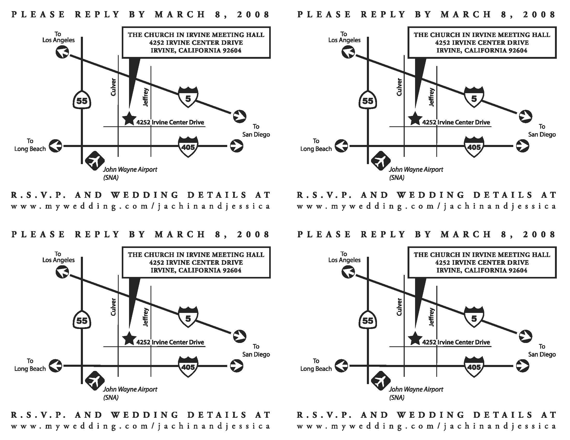 Elegant Wedding Invite Directions Template – Www.weddinginvitations.se - Printable Map Directions For Invitations