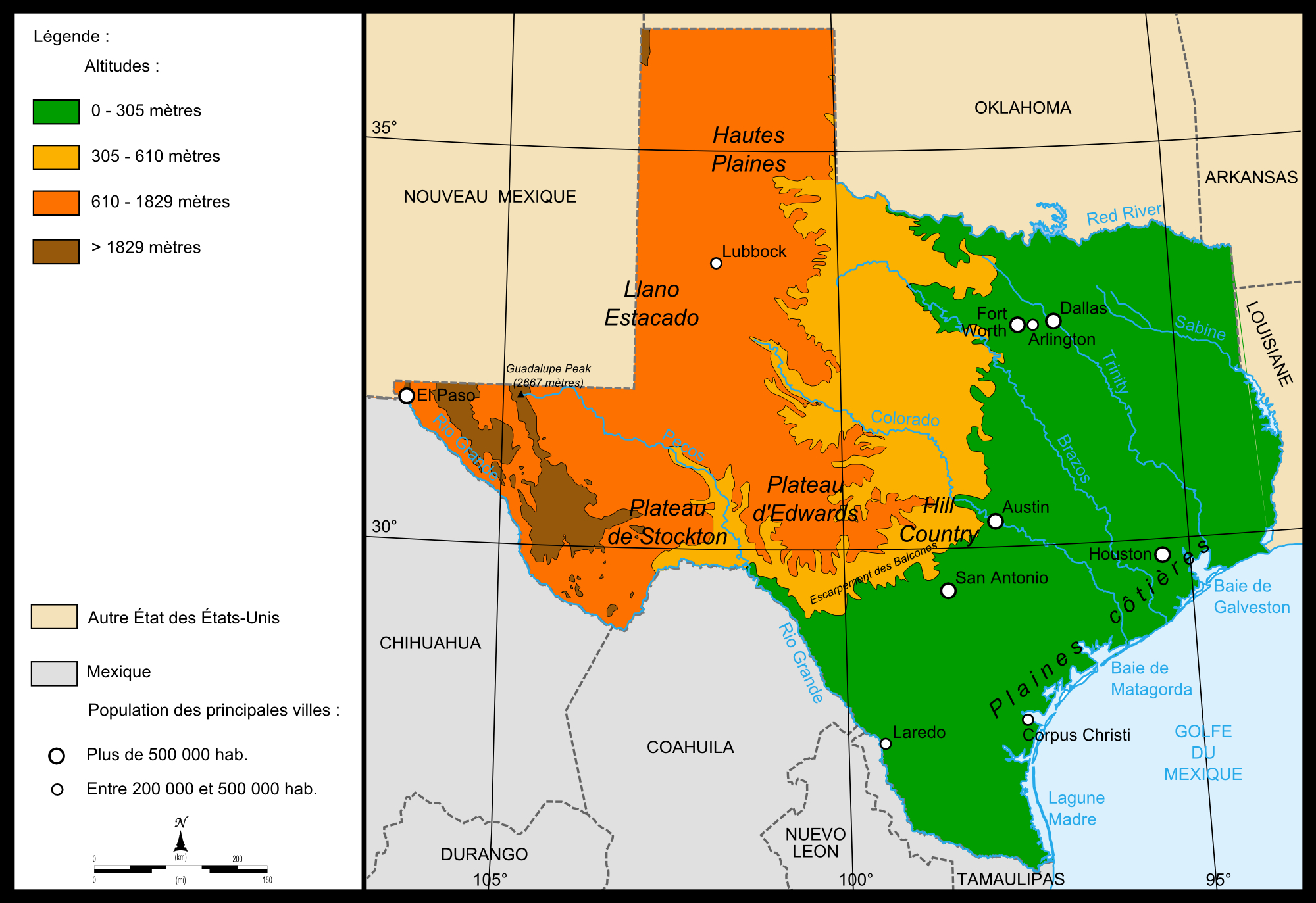 Elevation Map Of Texas_ – Kingjaap - Texas Elevation Map